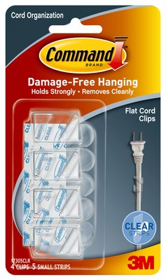Command™ 17305CLR Flat Cord Clips with Strips, Clear, 4 Clips & 5 Strips