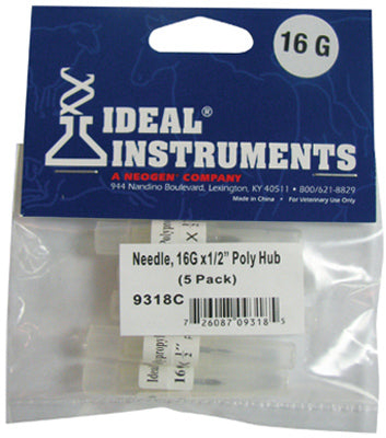 "Ideal 9318 Poly Hub Disposable Needles, 16 Gauge x 1/2"" (5-Pack)"