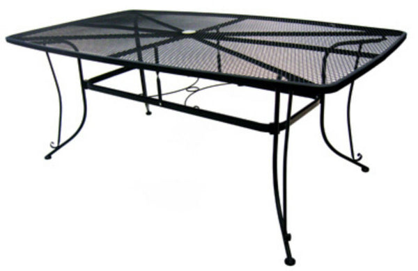 "Woodard 1172-BXU Uptown Collection Mesh Dining Table 42"" x 72"", Black"