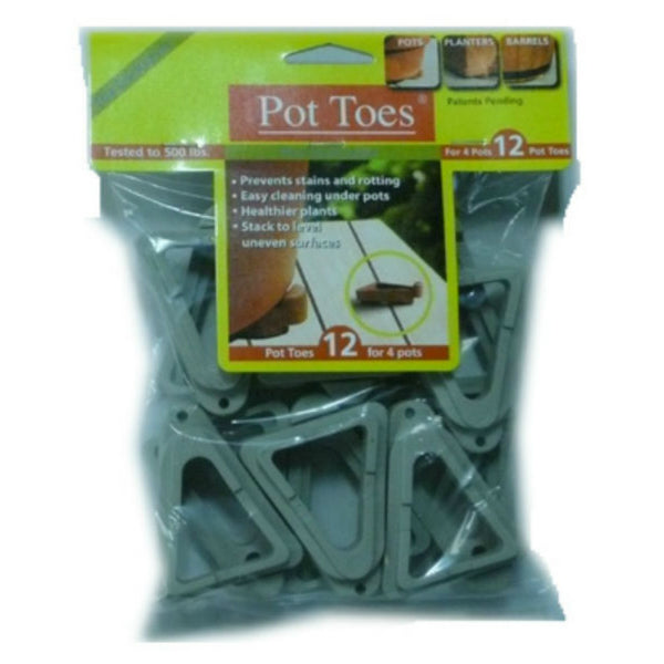 "Pot Toes® PT-12LGHT The Decksaver™ Plant Stand Elevator, Light Gray, 3"", 12-Pack"