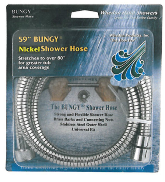 "Whedon AF205C-SN Bungy Metal Stretch Shower Hose, 59"", Brushed Nickel"