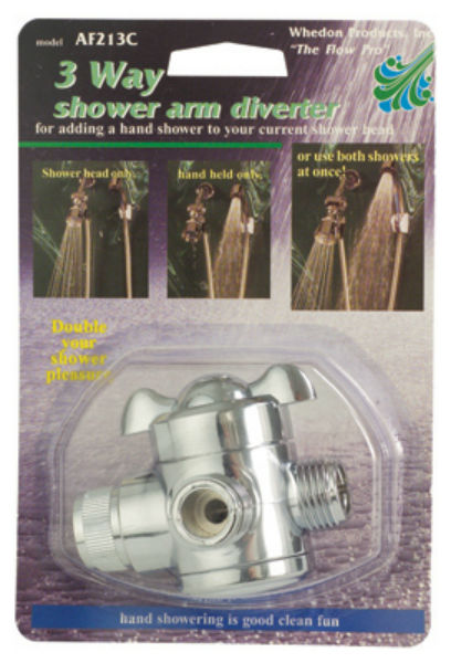 Whedon AF213C Shower Arm Diverter, 3-Way, Chrome
