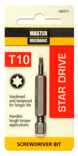 Master Mechanic 160371 Star Drive T10 Torx Power Bit, 2""