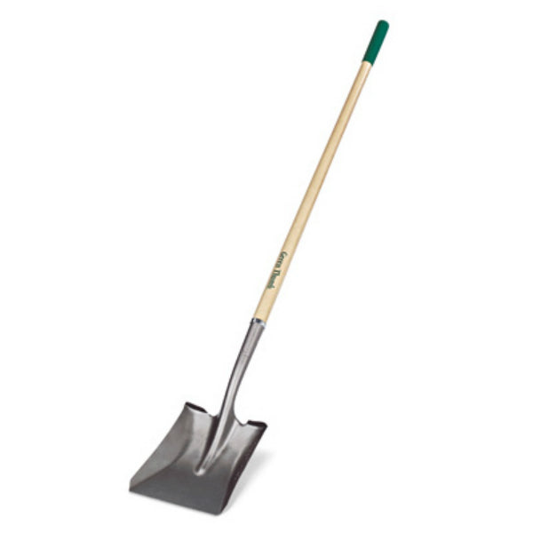 Green Thumb 163119000 Long Handle Square Point Shovel with Wood Handle