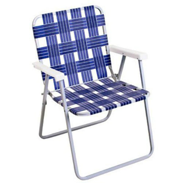 Rio Brands BY055A-0138 Woven Blue Webbing Folding Chair, Steel