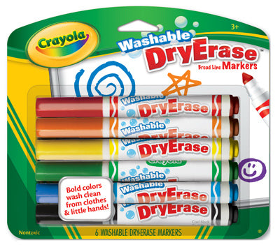 Crayola 98-5806 Dry Erase Broad Line Washable Marker, 6-Count
