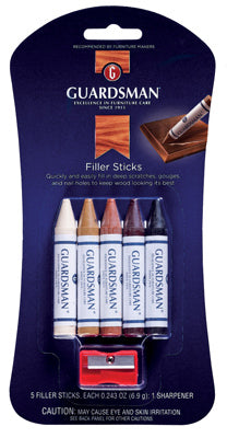Guardsman 500300 Wood Filler Sticks & Sharpener, 5-Pack