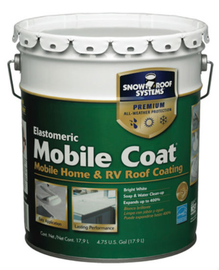 Snow Roof® MC-5 Mobile Coat Reflective Elastomeric Roof Coating, White, 4.75 Gal