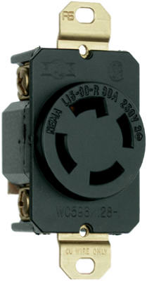 Pass & Seymour Turnlok Single Receptacle, 4wire, 30A, Black