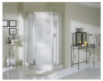 "Sterling NI3190A-38SW Economy Shower Kit Neo Angle, 38"" White"