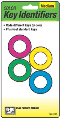 Hy-Ko KC130 Medium Push Button Key Identifiers, Assorted Neon Colors, 4-Pack
