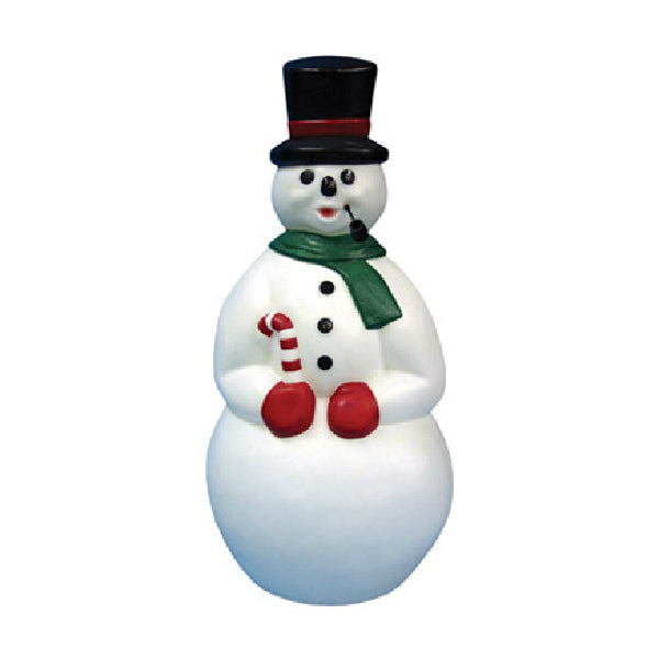 General Foam C5290TS Pre-Lit Snowman with Black Pipe Christmas Figurine, 34""