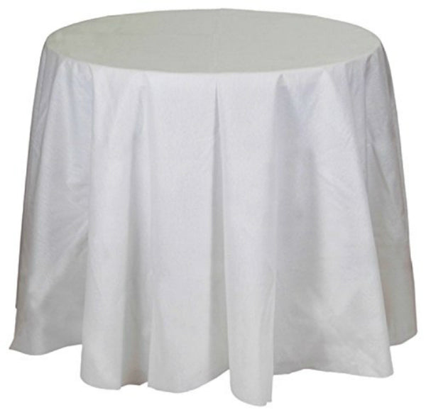 Creative Converting™ 823272 Better Than Linen™ Octy-Round Tablecover, White, 82""