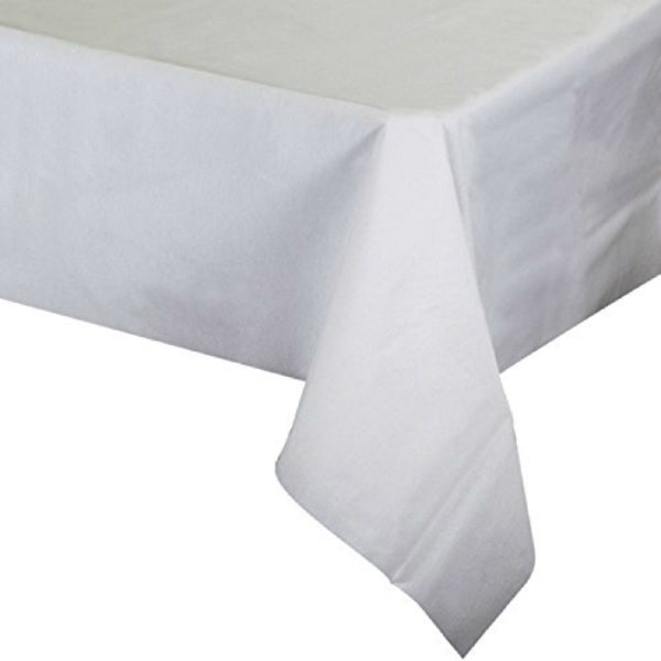 "Creative Converting™ 813272 Better Than Linen™ Table Cover, White, 50"" x 108"""