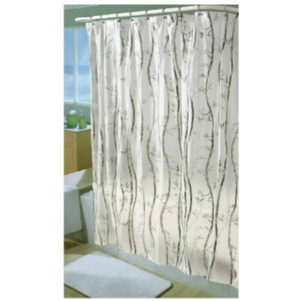 "Ex-Cell 1ME-040O0-3066-311 PEVA Shower Curtain, White w/Green Bamboo, 70""x72"""