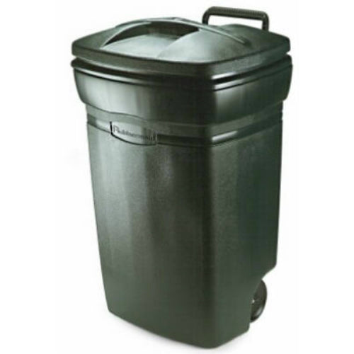 Rubbermaid® RM134501 Roughneck Plastic Wheeled Trash Can, 45 Gallon, Evergreen