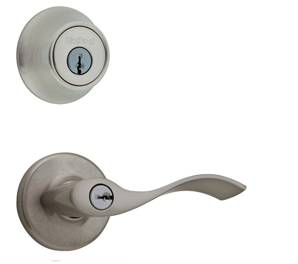 Kwikset® 690BL-15-CP-K6 Balboa Entry Lever & Deadbolt Combo Pack, Satin Nickel