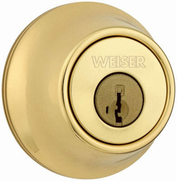 Weiser® GDC9471-3 WS-RLR2 Elements Single Cylinder Deadbolt, Bright Brass