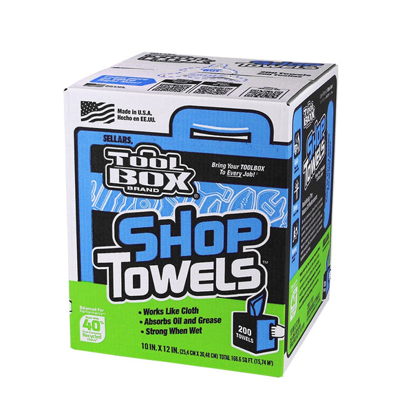 "ToolBox® 5520201 Absorbent & Disposable Shop Towel Roll, Blue, 10"" x 12"", 200-Ct"
