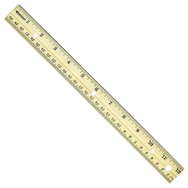 "Westcott 10702 English/Metric Wood Ruler, 12""/30 cm"