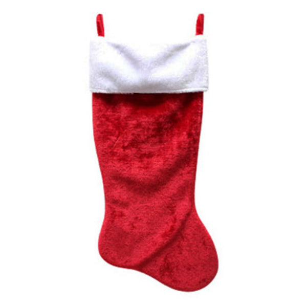 Dyno 0102022 Red Plush Christmas Stocking with White Fold Over Cuff, 35""