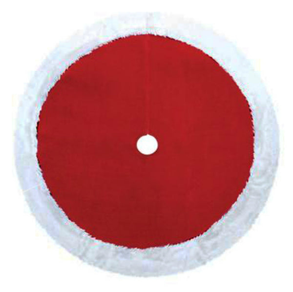 Dyno Seasonal 0202004ZSACC Red Plush Christmas Tree Skirt with White Trim, 48""