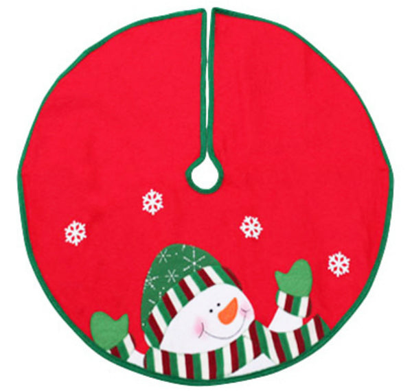 Dyno Seasonal 2243649-3CC Snowman Felt Mini Christmas Tree Skirt, Red, 24""