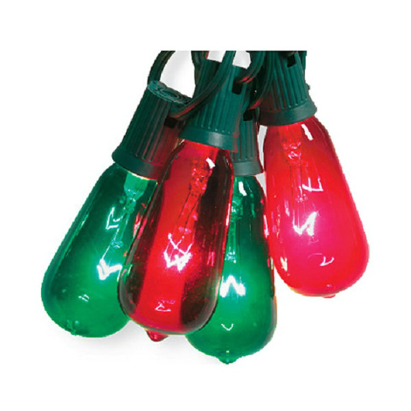 Sylvania V51597 Christmas Elongated Glass ST40 Edison 10-Light Set, Green/Red