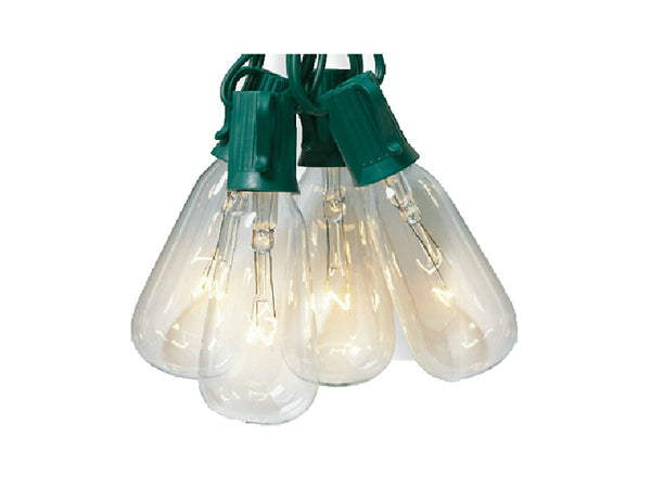 Sylvania V51587 Christmas Elongated ST40 Edison Style 10-Light Set, Clear