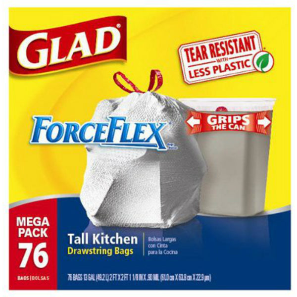 Glad® 78537 ForceFlex® White Tall Kitchen Bag, 13 Gallon, 76-Count