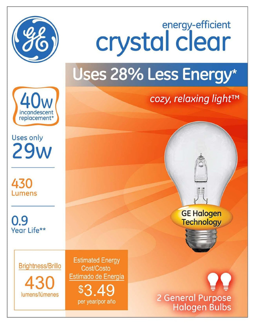 GE Lighting 78795 Energy-Efficient A19 Halogen Bulb, Crystal Clear, 29W, 2-Count