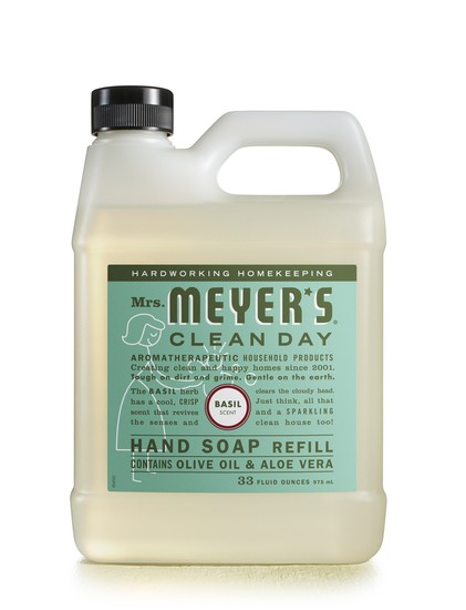 Mrs. Meyer's Clean Day 14163 Liquid Hand Soap Refill, 33 Oz, Basil Scent