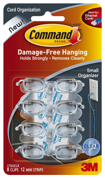 Command 17302CLR Clear Cord Clips with Strips, Small, 8 Clips & 12 Strips