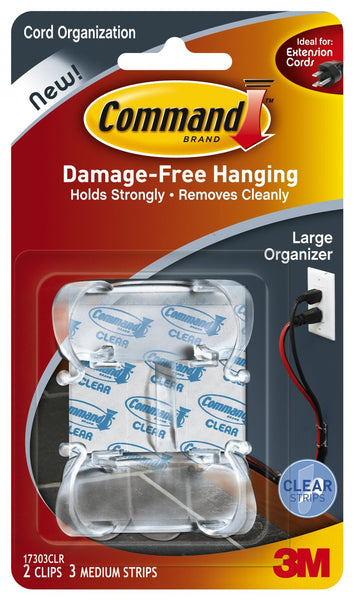 Command 17303CLR Large Cord Organizers, Clear, 2 Clips & 3 Strips