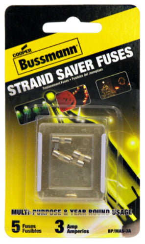 Cooper Bussmann BP/MAS-3A Holiday Mini Light Set Fuse, 3A, 125V, 5-Pack