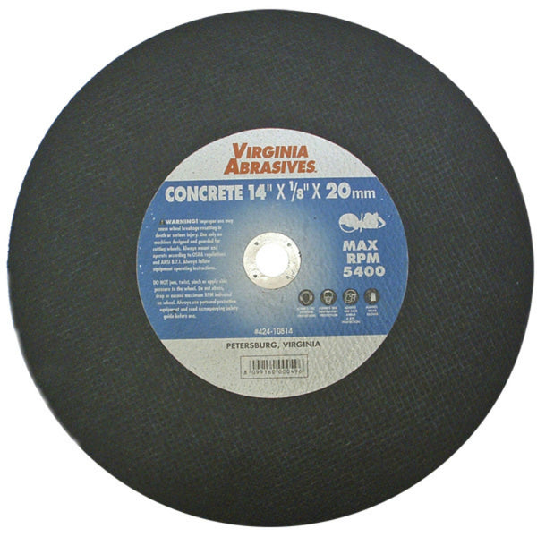 "Virginia Abrasives™ 424-10814 Concrete Bonded Masonry Cutoff Wheel, 14""x1/8""x20mm"
