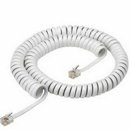 RCA TP280WN Coiled Modular Handset Cord with Attached Plug Ends, 12', White