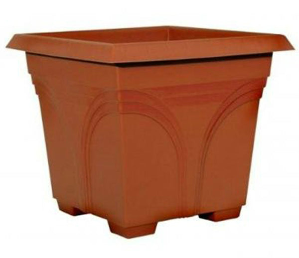 "Southern Patio DP1510TC Medallion Plastic Deck Planter, 15"", Terra Cotta"