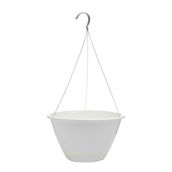 "Southern Patio EE1025WH Promotional Hanging Basket, 10"", White"