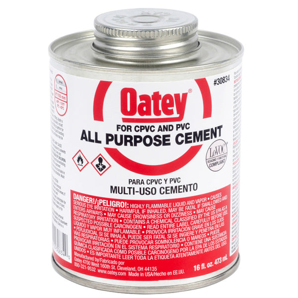 Oatey® 30834 All Purpose Solvent Cement, 16 Oz, Clear