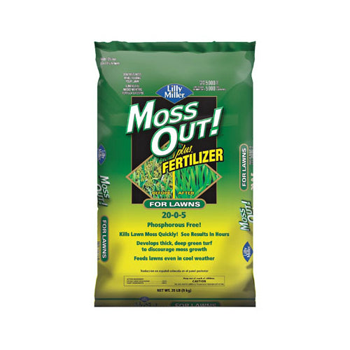 Lilly Miller® 100508946 Moss Out Plus Fertilizer, 20 Lb, 20-0-5