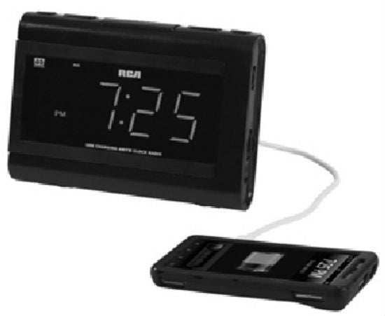 RCA RC142 USB Charging Clock Radio with Dual Wake, Large LCD, Black