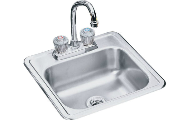 Elkay® NEPB1515LF Neptune Stainless Steel Single Bowl Top Mount Sink + Faucet Kit