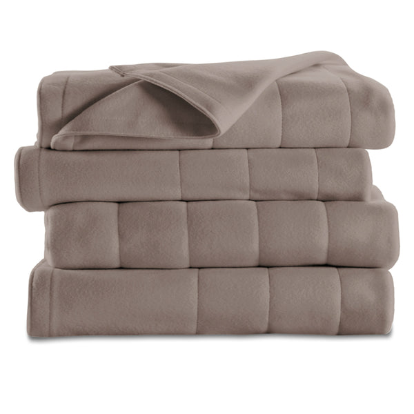 Sunbeam® BSF9GFS-R772-13A00 Full Size Quilted Fleece Heated Blanket, Mushroom