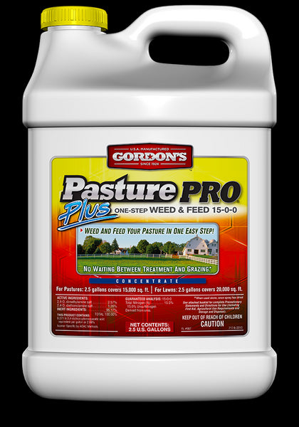 Gordon's® 7171122 Pasture Pro® Plus One-Step Weed & Feed, 15-0-0, 2.5 Gallon