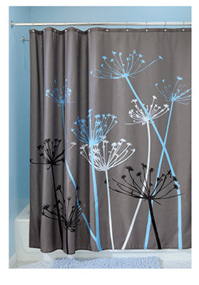 "InterDesign® 37221 Thistle Polyester Shower Curtain, Gray/Blue, 72"" x 72"""