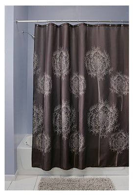 "InterDesign® 37020 Dandelion Cocoa Fabric Shower Curtain, 72"" x 72"", Cocoa"