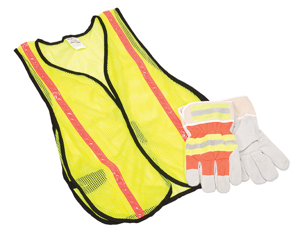 MSA Safety Works® 10123584 Hi-Viz Safety Vest & Split Glove Combination Kit