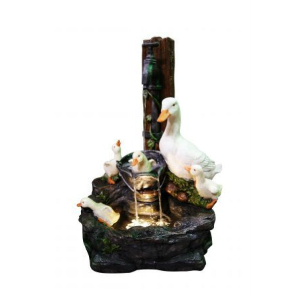 Alpine WCT670 Poly Resin Duck Family Floor Fountain w/ Yellow LED Light, 23""