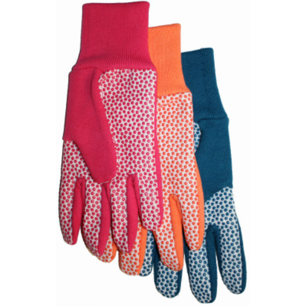 Midwest 522D4 Ladies Jersey/Cotton Canvas Glove w/Plastic Dots, Assorted, 1-Qty